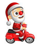 3D Santa character the Right motorbike driving. 3D Christmas Cha Royalty Free Stock Images