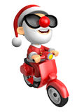 3D Santa character the Right motorbike driving. 3D Christmas Cha Stock Images