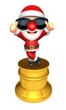 3D Santa character trophy of the Best Gesture. 3D Christmas Char Stock Photos