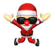 3D Santa character unclasp both hands jumping.  3D Christmas Cha Stock Photo