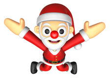 3D Santa character unclasp both hands jumping.  3D Christmas Cha Royalty Free Stock Image