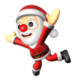 3D Santa character unclasp both hands jumping.  3D Christmas Cha Stock Images