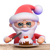 3d Santa Christmas muffin. 3d render of Santa Claus eating a Christmas muffin with icing and a cherry Stock Image