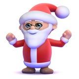 3d Santa Claus är så lycklig! Arkivfoto