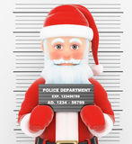 3D Santa Claus arrested. Criminal police photo. 3d christmas people illustration. Santa Claus arrested. Criminal police photo. White background Royalty Free Stock Photo
