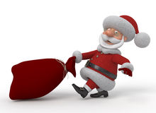 3d Santa Claus with a bag Stock Photos