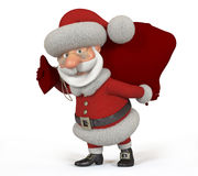 3d Santa Claus with a bag Royalty Free Stock Photo