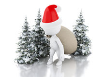 3d Santa Claus with bag of gifts and  Christmas tree in fresh sn Royalty Free Stock Photos