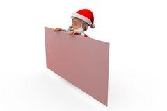 3d santa claus behind poster concept Royalty Free Stock Photos