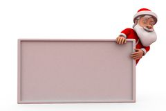 3d santa claus behind poster concept Royalty Free Stock Photography