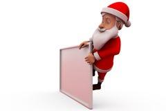 3d santa claus behind poster concept Royalty Free Stock Photo