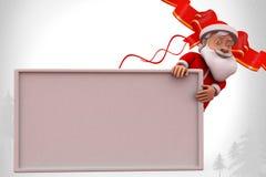 3d santa claus behind poster illustration Stock Photography