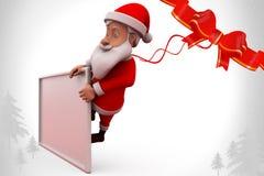 3d santa claus behind poster illustration Stock Photo