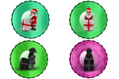 3d santa claus with big gift icon Royalty Free Stock Photography