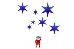 3d santa claus with blue star concept Stock Photography