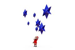 3d santa claus with blue star concept Royalty Free Stock Image