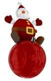 3D Santa Claus bovenop een rode bol Royalty-vrije Stock Afbeelding