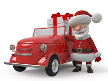 3d Santa Claus by car Royalty Free Stock Photos