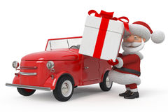 3d Santa Claus by car Stock Photo