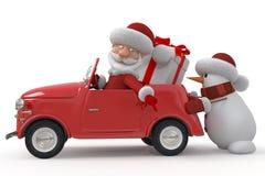 3d Santa Claus by car Royalty Free Stock Images