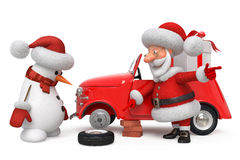 3d Santa Claus by car Stock Photography