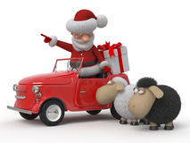 3d Santa Claus by car with sheep Royalty Free Stock Photography