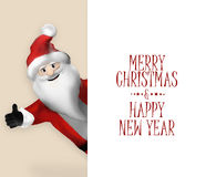3D Santa Claus Cartoon Character realística que aponta à bandeira Imagens de Stock Royalty Free