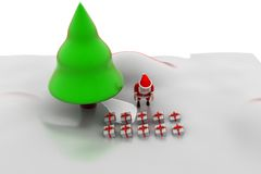 3d santa claus christmas tree concept Royalty Free Stock Photo
