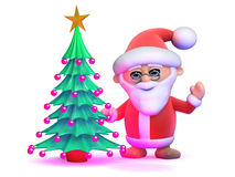 3d Santa Claus and Christmas tree Royalty Free Stock Photo