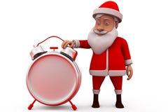 3d santa claus clock concept Stock Images