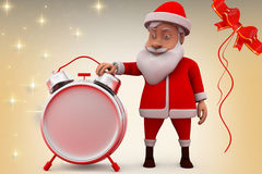 3d santa claus clock illustration Stock Photography