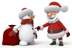 3d Santa Claus com um boneco de neve Foto de Stock
