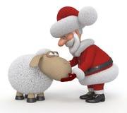 3d Santa Claus com um cordeiro Fotografia de Stock Royalty Free