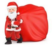 3D Santa Claus con il sacco enorme dei regali royalty illustrazione gratis