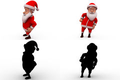 3d santa claus dance concept  collections with alpha and shadow channel Stock Photos