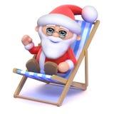 3d Santa Claus in a deckchair Stock Photos