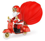 3D Santa Claus delivering gifts by motorcycle. 3d christmas people illustration. Santa Claus delivering gifts by motorcycle. White background Royalty Free Stock Photos