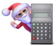 3d Santa Claus detrás de una calculadora Fotografía de archivo