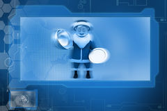 3d santa claus with dish concept Royalty Free Stock Image