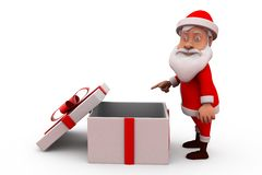 3d santa claus with empty gift concept Royalty Free Stock Photo