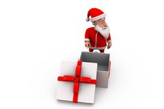 3d santa claus with empty gift concept Royalty Free Stock Photography