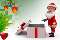 3d santa claus with empty gift illustration Stock Photos