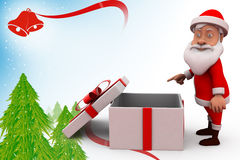 3d santa claus with empty gift illustration Stock Image