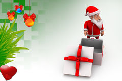3d santa claus with empty gift illustration Stock Images