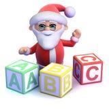 3d Santa Claus enseña al alfabeto Fotografía de archivo libre de regalías