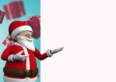 3D Santa claus figurine gesturing. Against digitally generated background Royalty Free Stock Photography