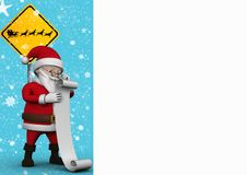 3D Santa claus figurine standing with checklist. Against snowfall background Royalty Free Stock Photography