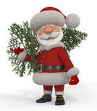 3d Santa Claus with a fir-tree Royalty Free Stock Images