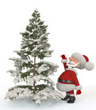 3d Santa Claus with a fir-tree Royalty Free Stock Photo