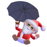 3d Santa Claus flies isolated on white Stock Images